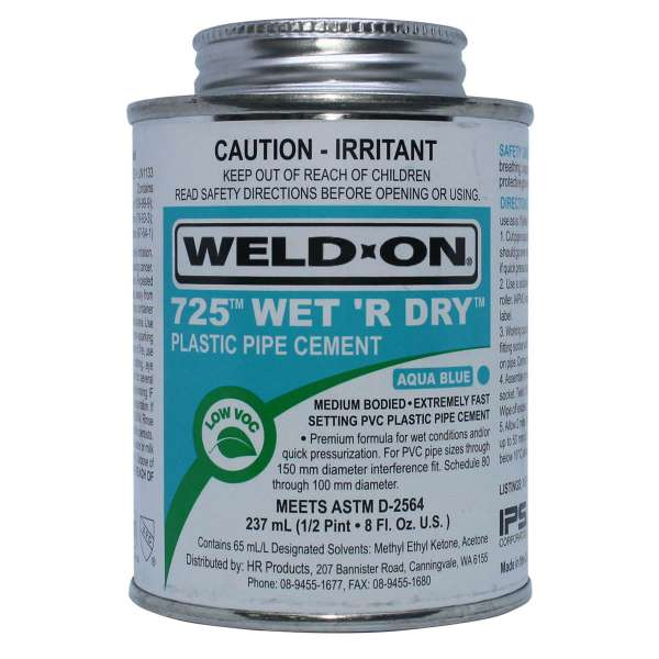 Weld-on 725 Wet R Dry Solvent Cement 237mL