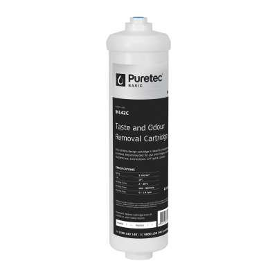 """Puretec IN142 Inline Carbon Cartridge 2 inch x 10 inch 1/4"""" connection"""